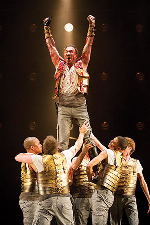 Patrick Page as Coriolanus and the cast of the Shakespeare Theatre Company's production of 'Coriolanus', directed by David Muse. Photo by Scott Suchman.